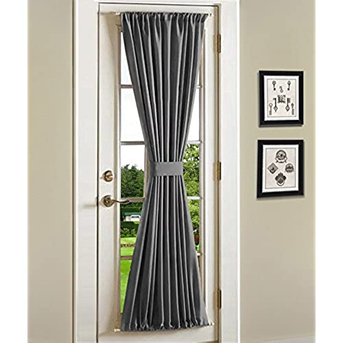 Onlycurtain Blackout French Door Curtains,Door Curtain Panel 42W x 72L  Inches, Grey
