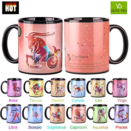 Heat Changing Constellation Mug 12 OZ Color Changing Mug with Gift Box for Women/Men-Capricorn