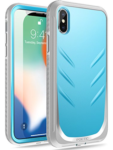 iPhone Xs Rugged Case, iPhone X Rugged Case, Poetic Revolution [360 Degree Protection][Built-in-Screen Protector]Full-Body Rugged Heavy Duty Case for Apple iPhone X (2017)/iPhone Xs (2018) - Blue/Gray