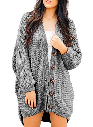 - HOTAPEI Women's Sweaters Open Front Cardigans Casual Cable Knit Velvet Oversized Long Cardigan Chunky Long Sleeve Button Warm Sweater Coat for Fall Winter with Pocket Gray Small