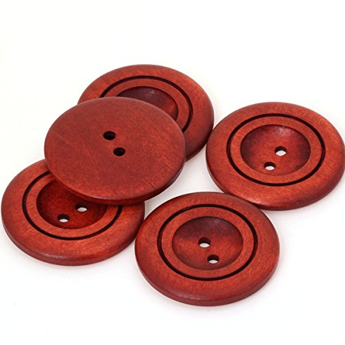 COTOWIN Brown 40mm Large Wood Coat Sweater Buttons Sewing Craft DIY Accessory [pack of 10]