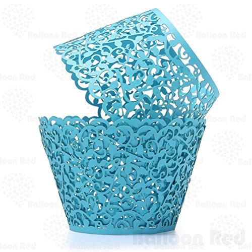 Vines Artistic Filigree Lace Laser Cut Cupcake Wrappers Muffin Case, Pack of 200, Sky Blue (Laser Photo Halloween Costume)