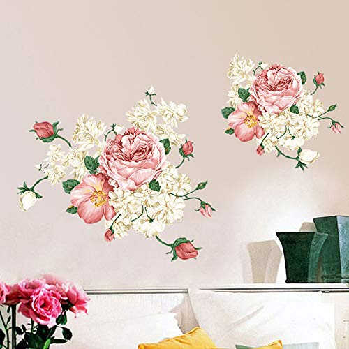 ufengke® Nobility Peony Flower DIY Wall Decals, Living Room Bedroom Removable Wall Stickers Murals