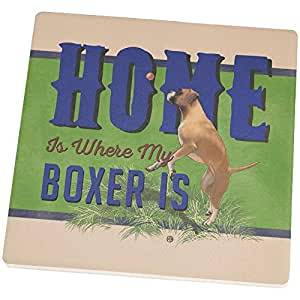 Home is Where My Boxer Is Set of 4 Square Sandstone Coasters