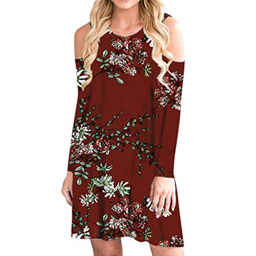 TRENDINAO Women Cold Shoulder Dress Casual Floral Print Long Sleeve Boho Mini Dresses for Special Occasions Red
