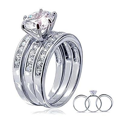 Bishilin S925 Silver Round Zopius Diamond(Lab Created) 3Pcs Halo Wedding Engagement Ring Set supplies