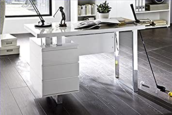 high gloss office furniture. ModaNuvo Computer Office Desk Full White High Gloss \u0026 Chrome With Drawers Furniture