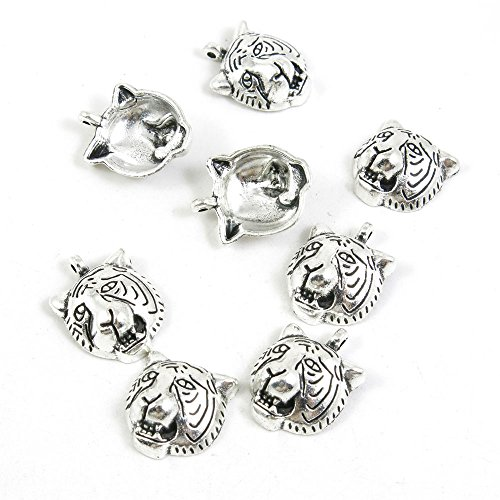 - 60 Pieces Antique Silver Tone Jewelry Making Charms Pendant Findings Craft Supplies Bulk Lots Arts V5LE1 Tiger Head
