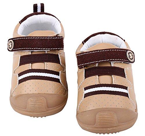 LONSOEN Baby Boys and Girls Anti-Slip Walking Shoes Toddler Athletic Sneaker BAY001 Brown CN19 by LONSOEN (Image #7)