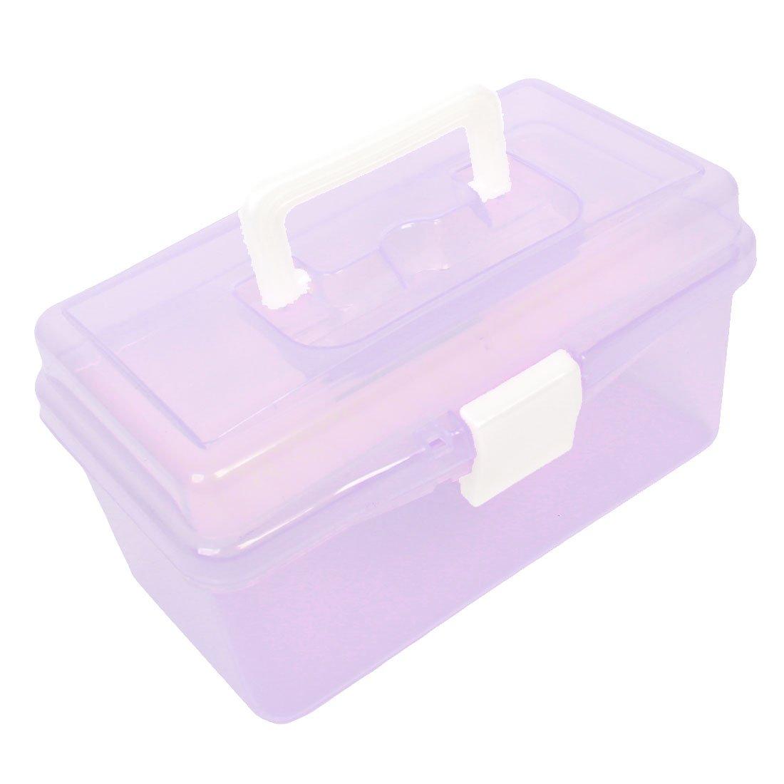 Sourcingmap a13090200ux0751 Boîte de rangement à outils en plastique avec poignée Double épaisseur Violet transparent