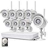 Zmodo 1080p HDMI NVR System with (8) 1.0 Megapixel Wireless Surveillance IP Network Security Camera with 500GB Hard Drive IR Night Vision, Motion Detection and Remote Access