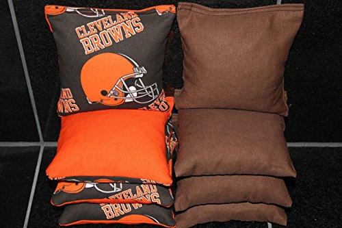 CORNHOLE BEAN BAGS w CLEVELAND BROWNS fabri logo bags (Cleveland Browns Cornhole Bags)