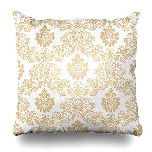Ahawoso Throw Pillow Cover Drapery Beige Vintage Floral Pattern Baroque Damask Graphic Abstract Royal Gold Flourishes Victorian Decorative Pillow Case 16x16 Inches Square Home Decor Pillowcase
