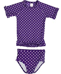 RuffleButts Infant / Toddler Girls Grape Polka Dot Ruffled Rash Guard Bikini - Grape - 6-12m