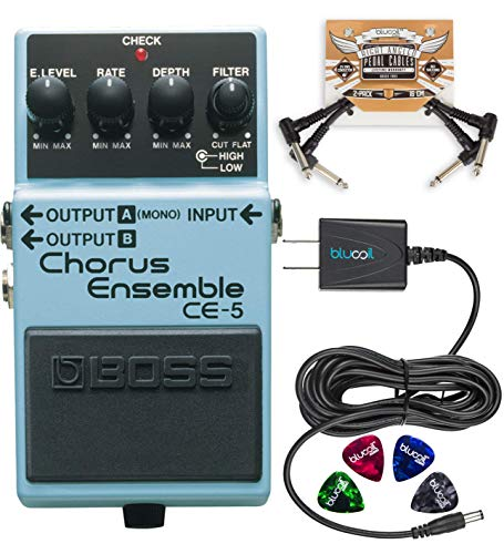 BOSS CE-5 Stereo Chorus Ensemble Pedal Bundle with Blucoil 9V DC Power Supply with Short Circuit Protection, 2-Pack of Pedal Patch Cables and 4-Pack of Celluloid Guitar Picks