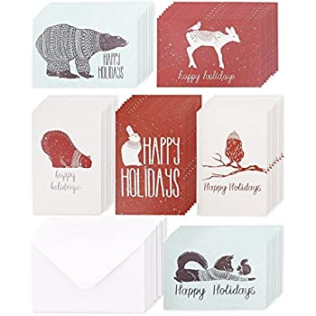 Amazon christmas holiday greeting cards country rustic 48 pack christmas greeting cards 6 assorted winter animal designs for holiday greetings envelopes m4hsunfo