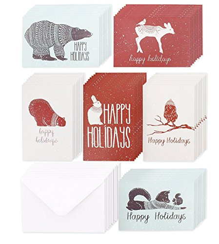 Christmas Greetings - 48 Pack Christmas Greeting Cards - 6 Assorted Winter Animal Designs for Holiday Greetings, Envelopes Included