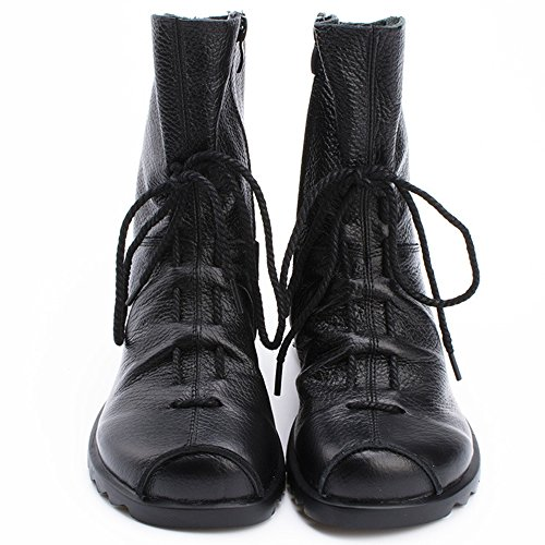 Womens-Genuine-Leather-Casual-Soft-Flat-Boots