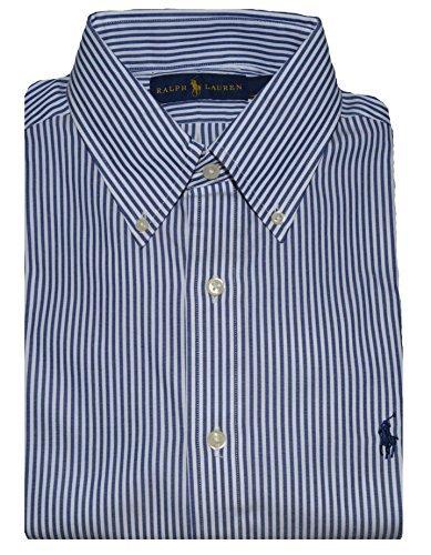 (Polo Ralph Lauren Men Long Sleeve Button Down Dress Shirt, Blue/White Stripe, 15.5