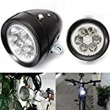 Star Headlight Products - Star-Art Vintage Retro Bicycle Bike Front Light Lamp 7 LED Fixie Headlight with Bracket, Easy to Install for Kids Men Women Road Cycling Mountain Bike Safety Flashlight (Black)