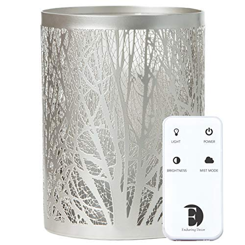 Enduring Decor Forest Aromatherapy Essential Oil Diffuser - Modern Metal & Glass Design. Remote Controlled Operation, Bright & Candle Modes & Soothing Cool Mist. Adjustable Mist Mode & Auto Shut-Off ()