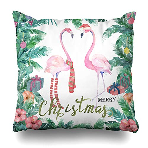 Kutita Decorativepillows Covers 18 x 18 inch Throw Pillow Covers,Christmas Tropical Watercolor Palm Tree Flamingo Holiday Bird Pattern Double-Sided Decorative Home Decor Pillowcase