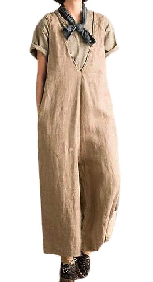 Hajotrawa Womens Plus Size Wide Leg Cotton Linen Summer Jumpsuit Overall