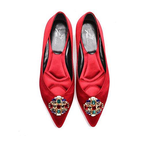 Røde Kvinde Satin Størrelse Sort Elegante Abrikos Eu36 Rød Flad 2 Fritid Farve Farvet Cn36 Bryllup Hæle 1 Rhinestone Uk4 Yixiny tpHnqS