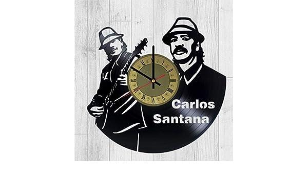 Carlos Santana Vinyl Wall Clock Acoustic Guitar Unique Gifts Living Room Home Decor