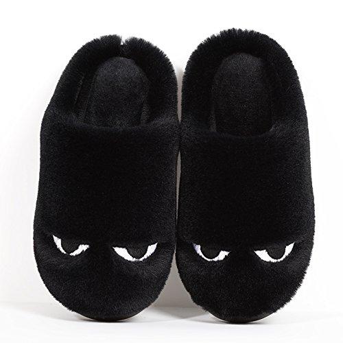 LaxBa Femmes Hommes chauds d'hiver Chaussons peluche antiglisse intérieur Cotton-Padded40-70 noir Chaussures Slipper (39-40 mètres)