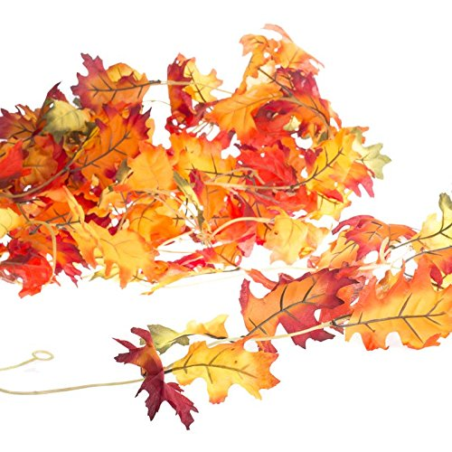 Mixed Fall Colors Set of 4 Autumn Garlands with Artificial Mixed Fall Leaves (Fall Leaves Garland)