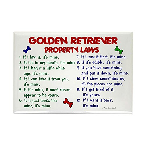 Sweatshirt Rectangle Magnet (CafePress - Golden Retriever Property Laws 2 - Rectangle Magnet, 2