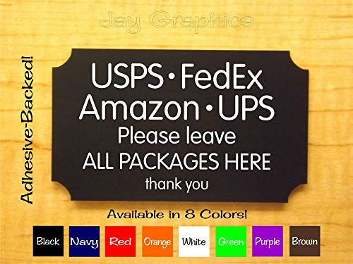 Engraved 3x5 Delivery Sign | Leave All Packages HERE | UPS FedEx Amazon USPS Carrier Deliver Home Business Suite Office Plaque | Adhesive Backing! (Brown)