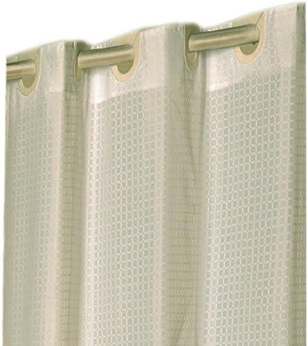 Amazon Com Hookless Checks Ivory Ez On Fabric Shower Curtain With