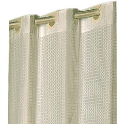 Checks Ivory EZ On Hookless Fabric Extra Wide Shower Curtain With Built In Hooks