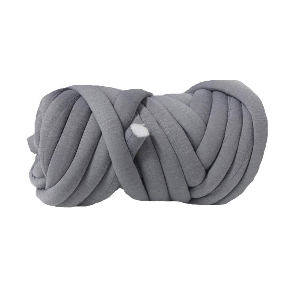 80 Meters Tube Yarn,Vegan Chunky Yarn,Jumbo Cotton Braid Giant Yarn,Light Grey Braid Chunky Yarn,Machine Washable DIY Roving Yarn,Blanket,Rug,Carpet,Cat Cave