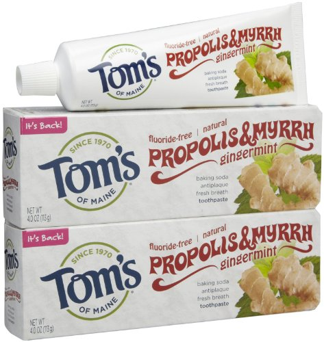 Gingermint Toothpaste - Tom's of Maine Natural Fluoride-Free Baking Soda Toothpaste with Propolis and Myrrh Gingermint -- 4 oz