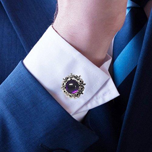 (Cufflinks Amethyst Gemstones & Sterling Silver, Handmade, Vintage-Style Gift)