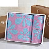 Be beautiful velour cotton towels/Square towel gift box set of three/ women and children-A