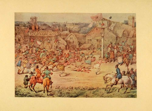 1932 Color Print Samuel Alken Country Fair England Foot Race Spectators Horses - Orig. Hand-Tipped Print (Alken Horse)