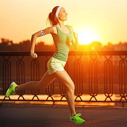 Mosany 5 Pack LED Sports Armband Flashing Safety Light LED Wristband Belt Ankle Band LED Slap Armband Glow Bracelet High Visibility Gear for Running Cycling or Walking at Night