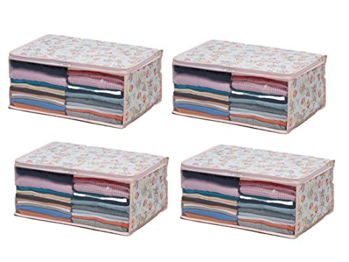 1Storage 4 Case Set Ideal for Clothing and Accessories Tulip Print
