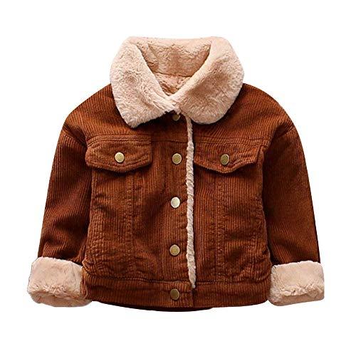 (Kids Baby Winter Corduroy Trucker Coat Thick Warm Fleece Lined Button Down Outerwear Jacket (2-3T, Coffee))