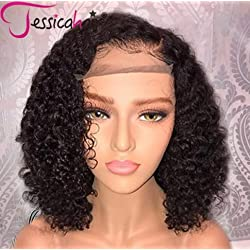 Jessica Hair Short 13x6 Lace Front Human Hair Wigs Pre Plucked With Baby Hair Curly Brazilian Remy Hair Lace Front Bob Wigs (8 inch with 150% density)