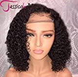 Jessica Hair Black Women Curly Brazilian Virgin Hair 13x6 Lace Front Wigs Human Hair Wigs Glueless with Baby Hair(14 inch with 150% density)