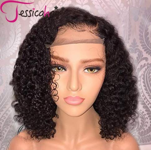 Jessica Hair 13x6 Lace Front Wigs Human Hair Wigs For Black Women Curly Brazilian Virgin Hair Glueless with Baby Hair(14 inch with 150% density)]()
