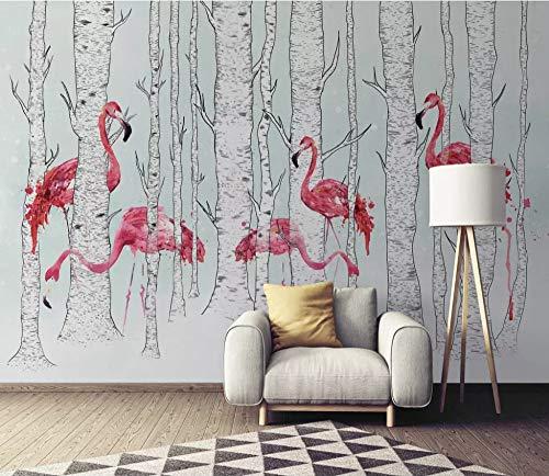 Mural Custom Wallpaper 3D Woodland Pastoral Flamingo Animal Art Wall Mural Living Room Bedroom Wallpaper,150Cm (H) X 230Cm ()