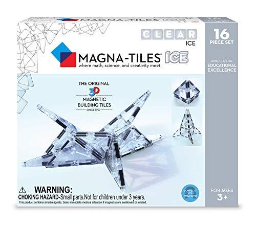 Magna-Tiles 18716 16Piece Ice Set, The Original, Award-Winning Magnetic Building Tiles, Creativity & Educational, Stem Approved, Translucent