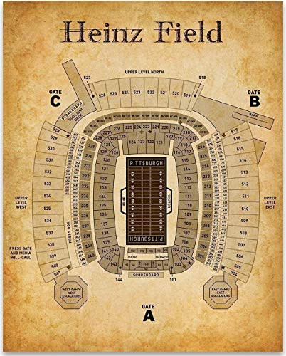 Heinz Field Football Seating Chart - 11x14 Unframed Art Print - Great Sports Bar Decor and Gift Under $15 for Football Fans