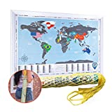 Scratch Off World Map with Country Flags & Gift Bag - Premium Quality 26.8x19'' Travel Tracker Map - Compact Deluxe Scratchable Poster w/Silver Foil - Tube/Frame